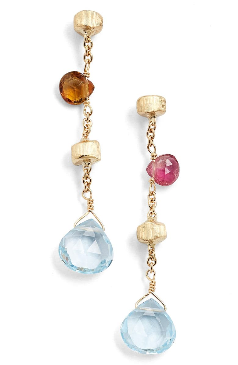 MARCO BICEGO 'Paradise' Linear Drop Earrings, Main, color, YELLOW GOLD/ MULTI