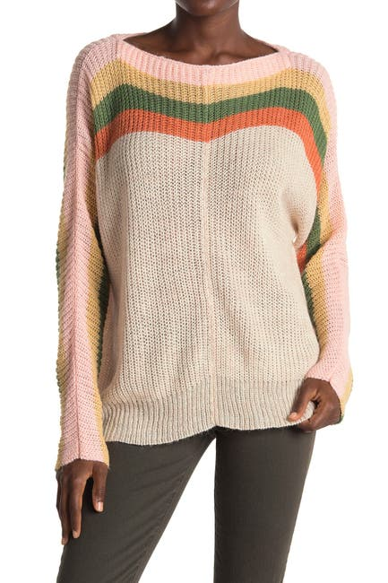 Image of ALL IN FAVOR Striped Boatneck Dolman Sweater