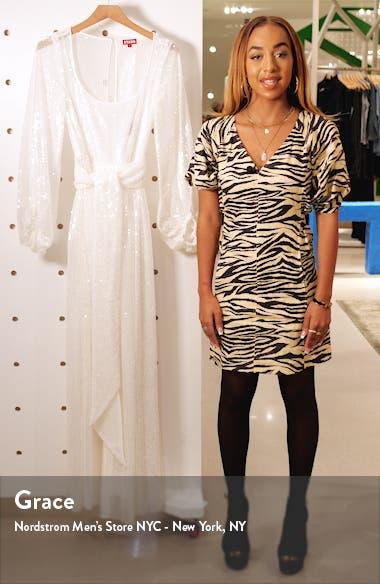 Pearl Sequin Balloon Sleeve Maxi Dress, sales video thumbnail