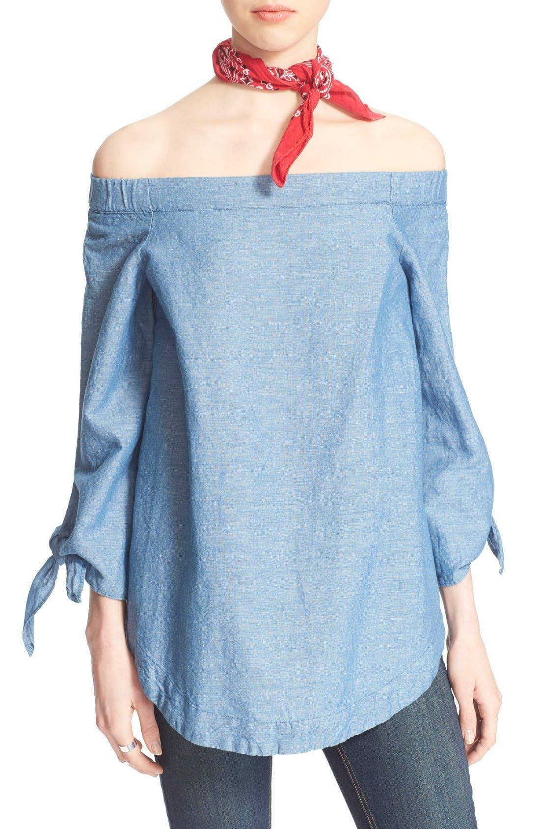 ,                             'Show Me Some Shoulder' Off the Shoulder Cotton Blouse,                             Alternate thumbnail 22, color,                             459
