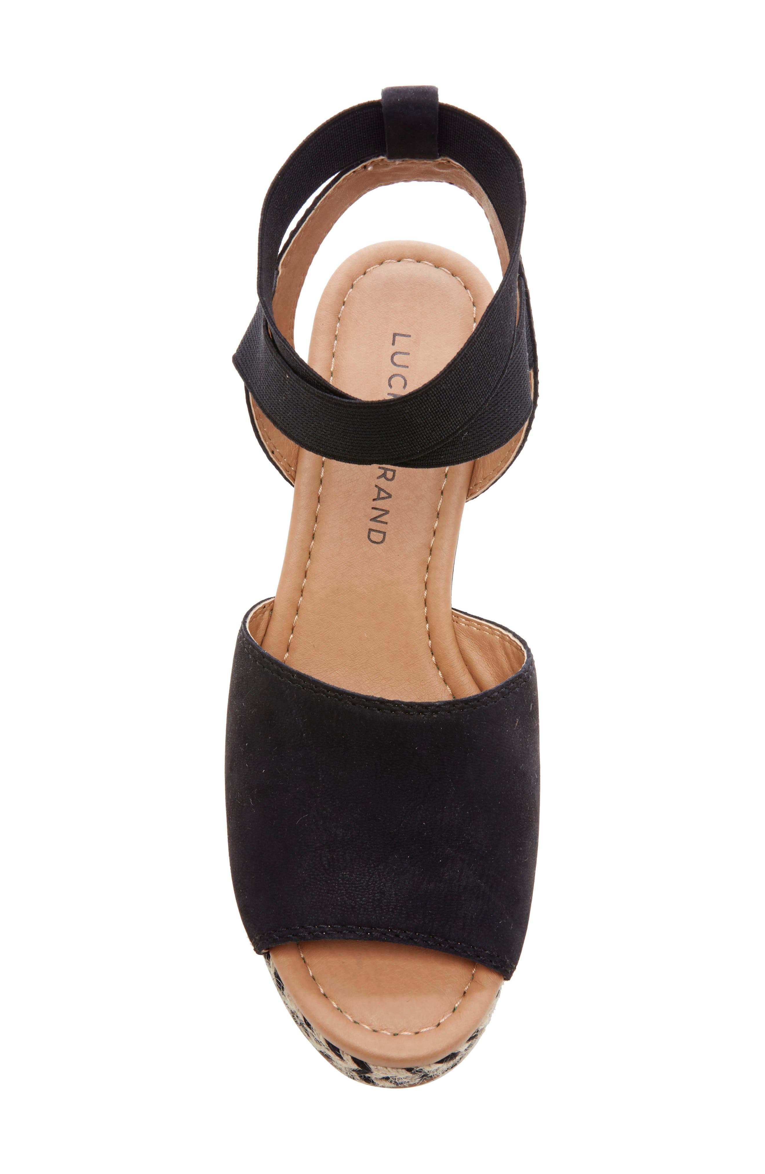,                             Bettanie Espadrille Wedge Sandal,                             Alternate thumbnail 5, color,                             BLACK LEATHER