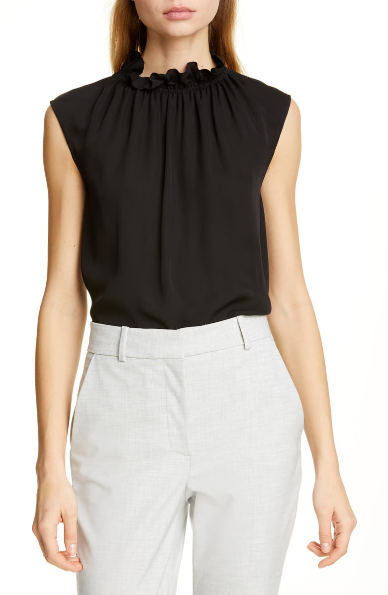 Tailored By Rebecca Taylor Ruffle Neck Silk Georgette Top