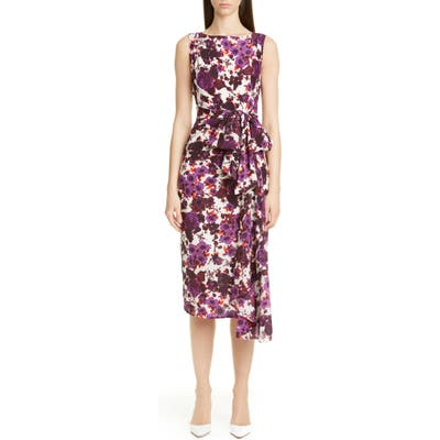 Erdem Floral Bow Waist Silk Crepe De Chine Sheath Dress, US / 12 UK - Purple