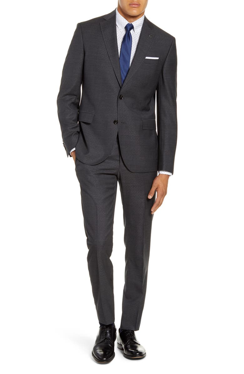 TED BAKER LONDON Roger Trim Fit Solid Wool Suit, Main, color, GREY