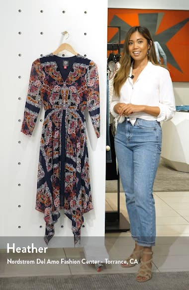 Paisley Handkerchief Hem Midi Dress, sales video thumbnail