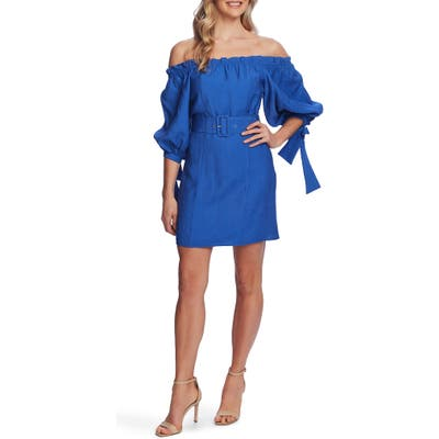 Cece Off The Shoulder Balloon Sleeve Minidress, Blue