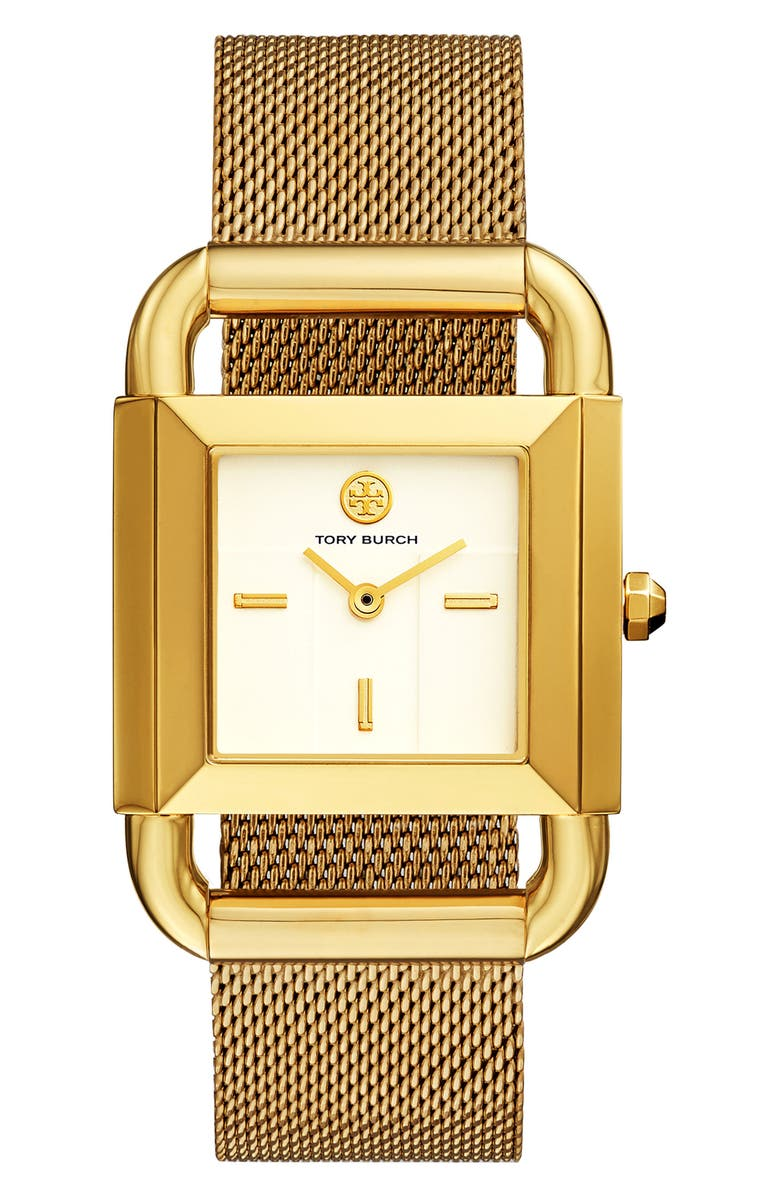 TORY BURCH Phipps Mesh Strap Watch, 29mm x 41mm, Main, color, GOLD/ IVORY/ GOLD