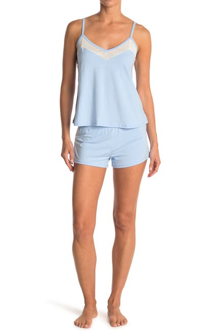 Image of COZY ROZY Mesh Camisole & Short 2-Piece Pajama Set