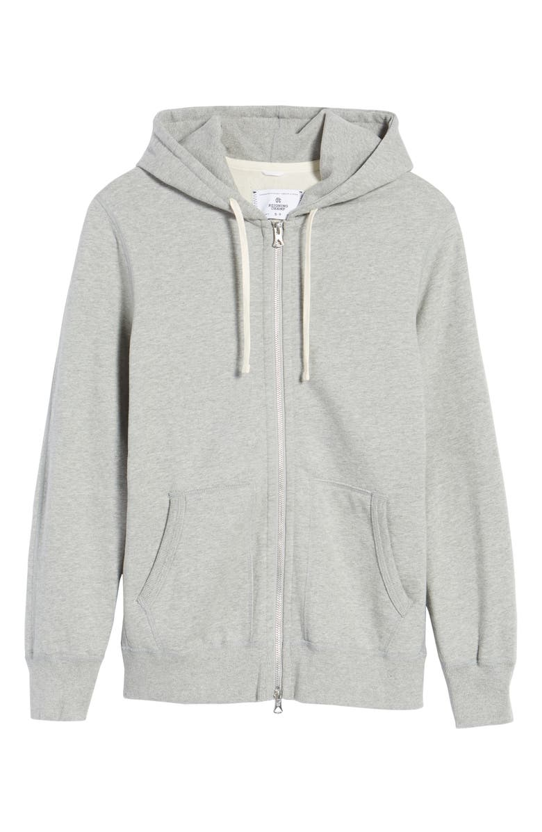 REIGNING CHAMP Trim Fit Full Zip Hoodie, Main, color, HEATHER GREY
