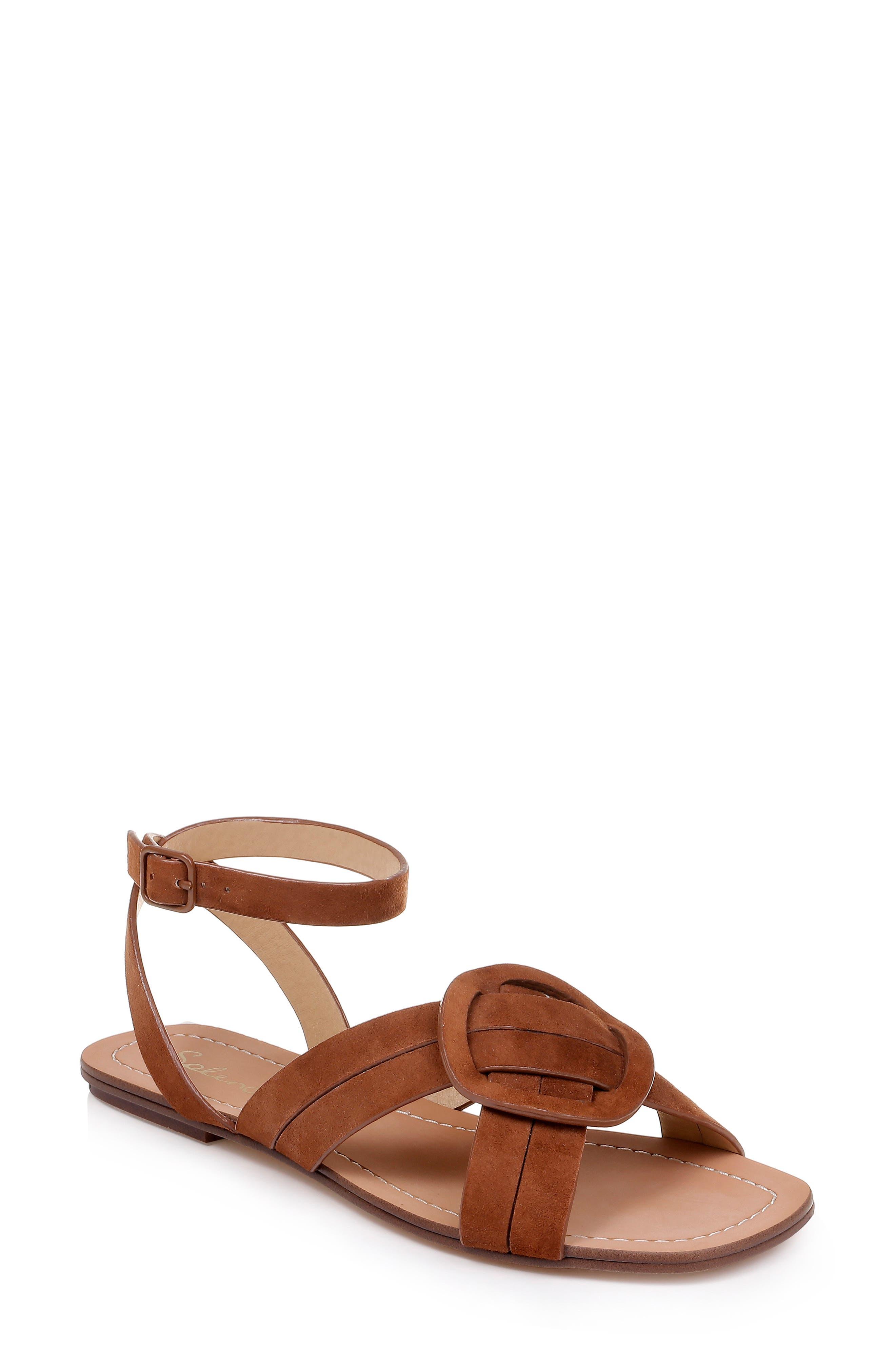 Talea Ankle Strap Sandal, Main, color, CHESTNUT SUEDE