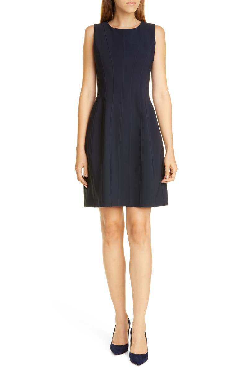 ADAM LIPPES Bonded Neopene Fit & Flare Dress, Main, color, NAVY