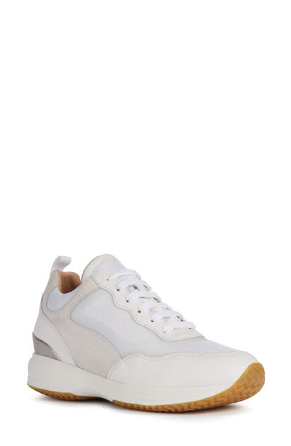 Geox Happy Sneaker In White/ Off White Nappa Leather