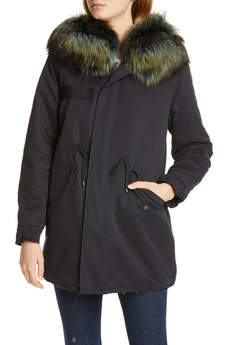 MR & MRS ITALY Reversible Genuine Mink Fur Parka with Removable Genuine Fox Fur Trim, Main, color, 001