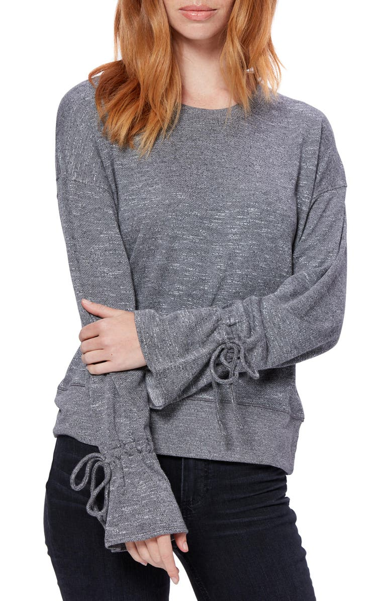 PAIGE Keily Tie Cuff Long Sleeve Top, Main, color, CHARCOAL HEATHER