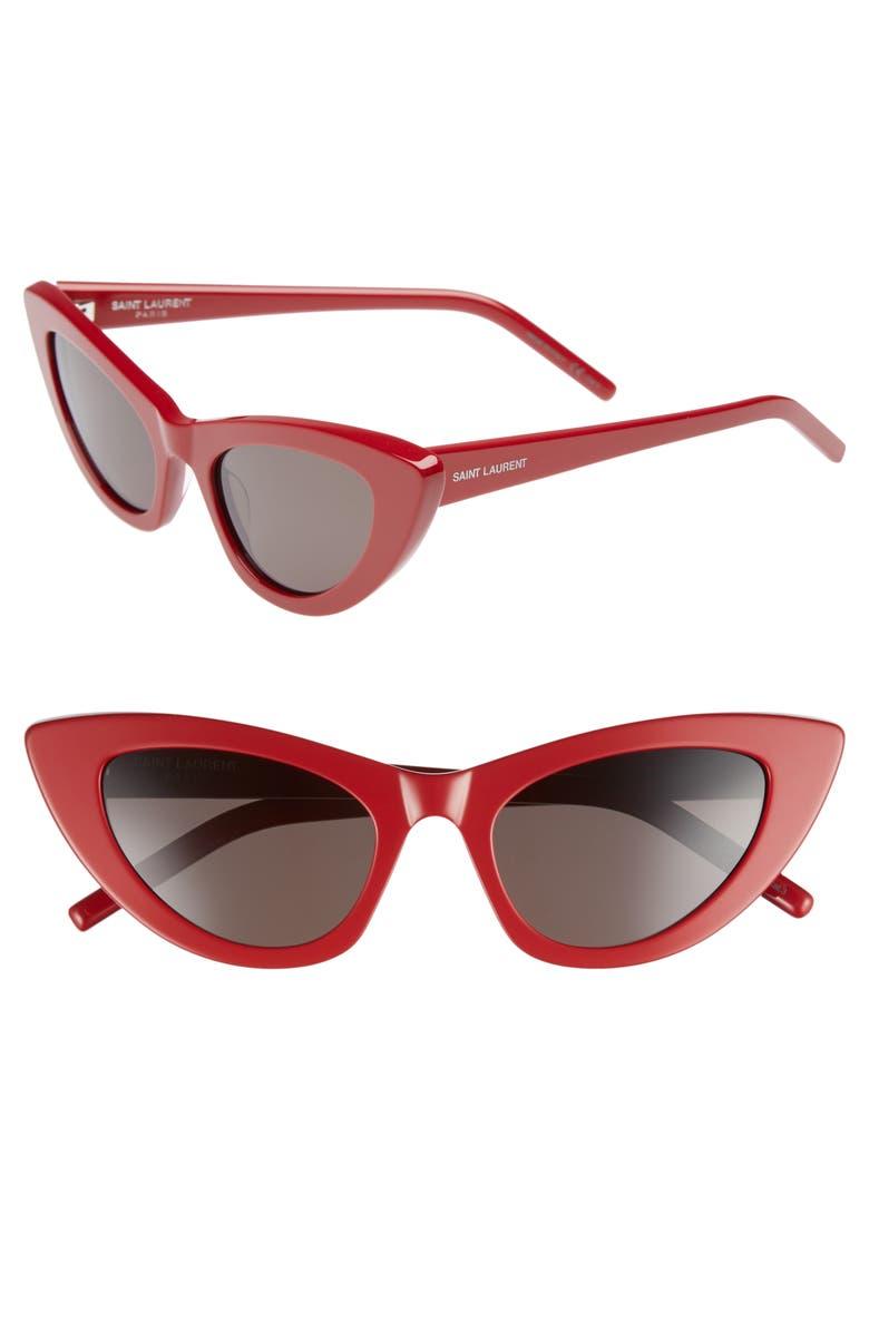 SAINT LAURENT Lily 52mm Cat Eye Sunglasses, Main, color, RED