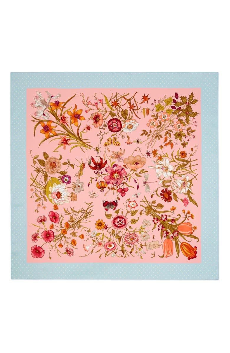 GUCCI Floral & Star Print Silk Twill Scarf, Main, color, PINK