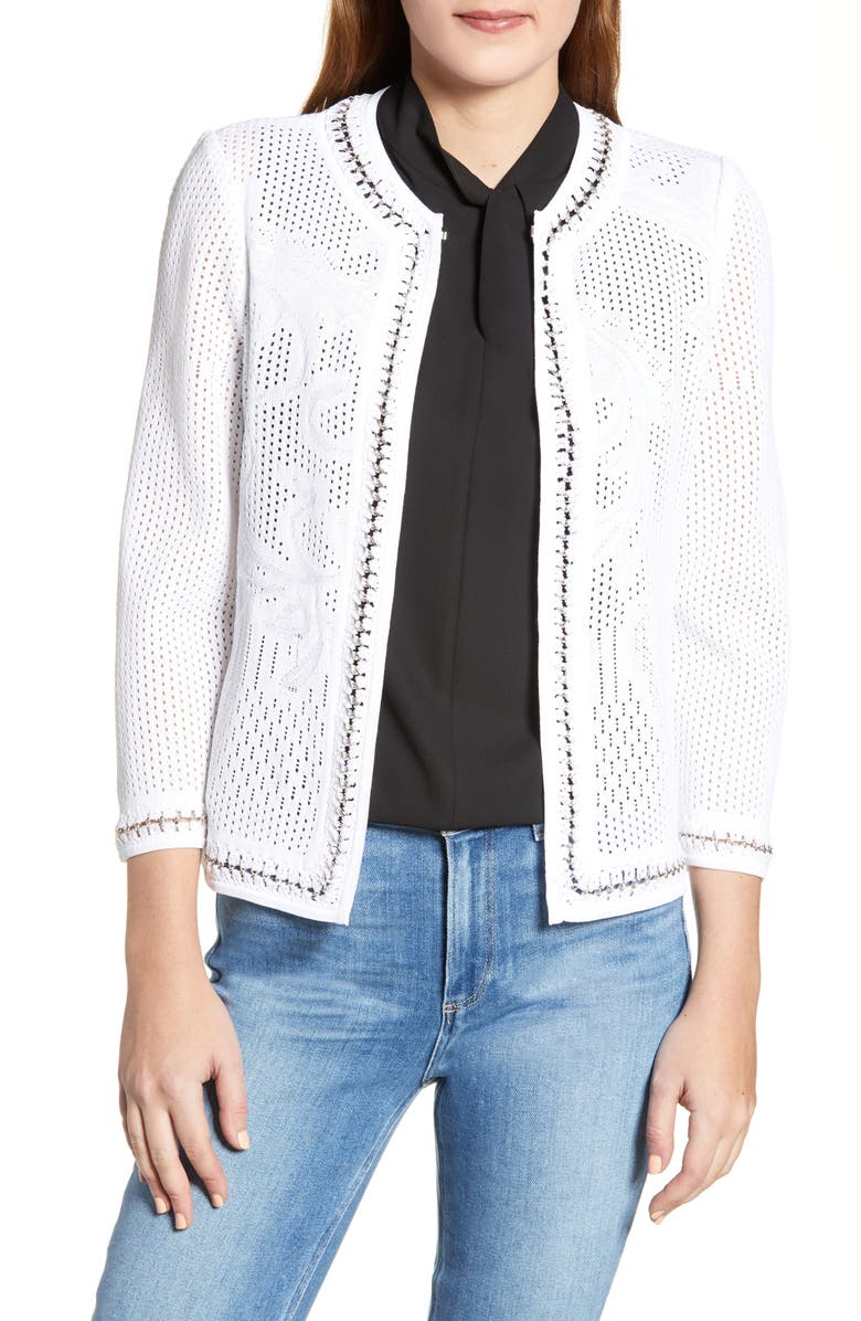 MING WANG Pointelle Knit Jacket, Main, color, WHITE