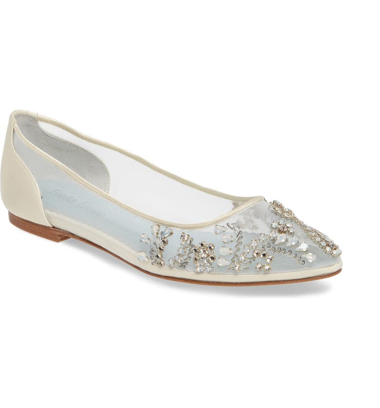 BELLA BELLE Willow Skimmer Flat, Main, color, IVORY FABRIC