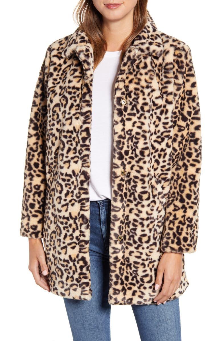 WIT & WISDOM Leopard Print Faux Fur Coat, Main, color, TPBK TAUPE