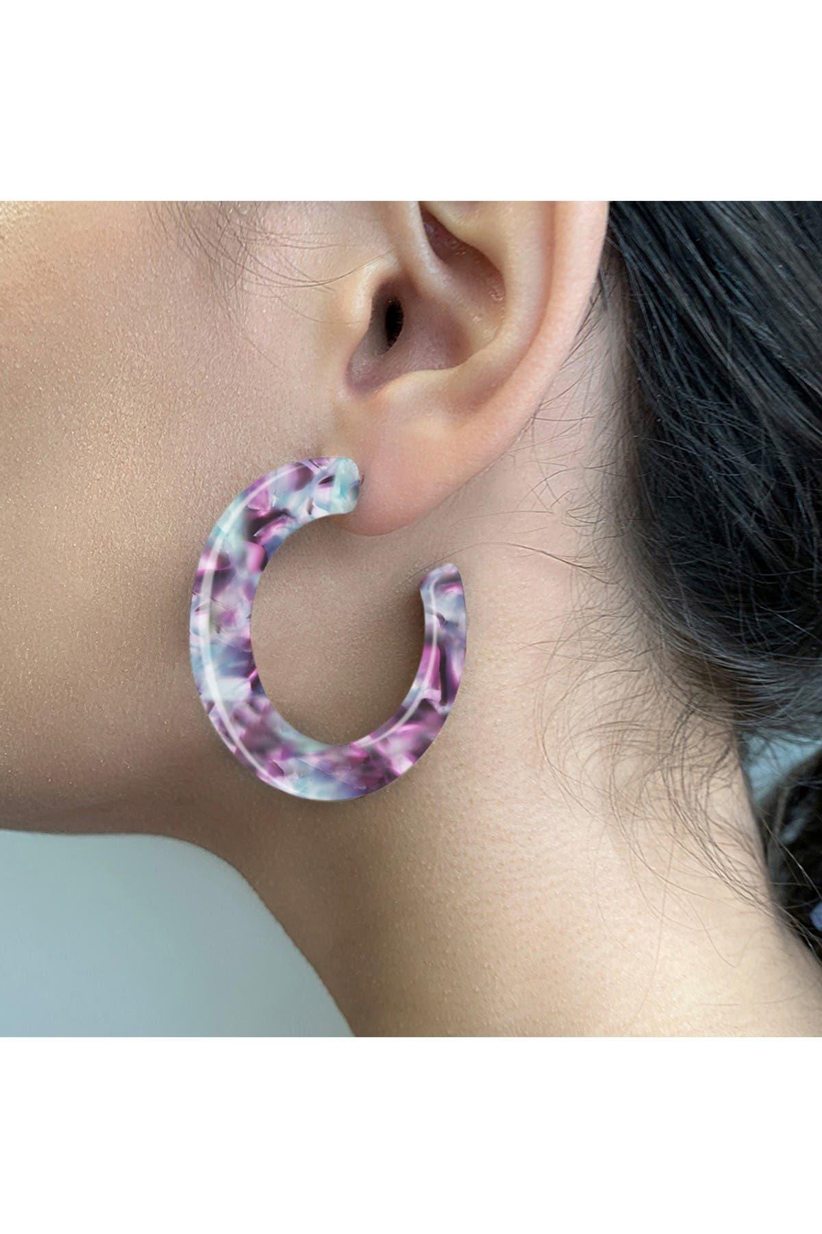 Sterling Forever Acetate Resin 44mm Hoop Earrings