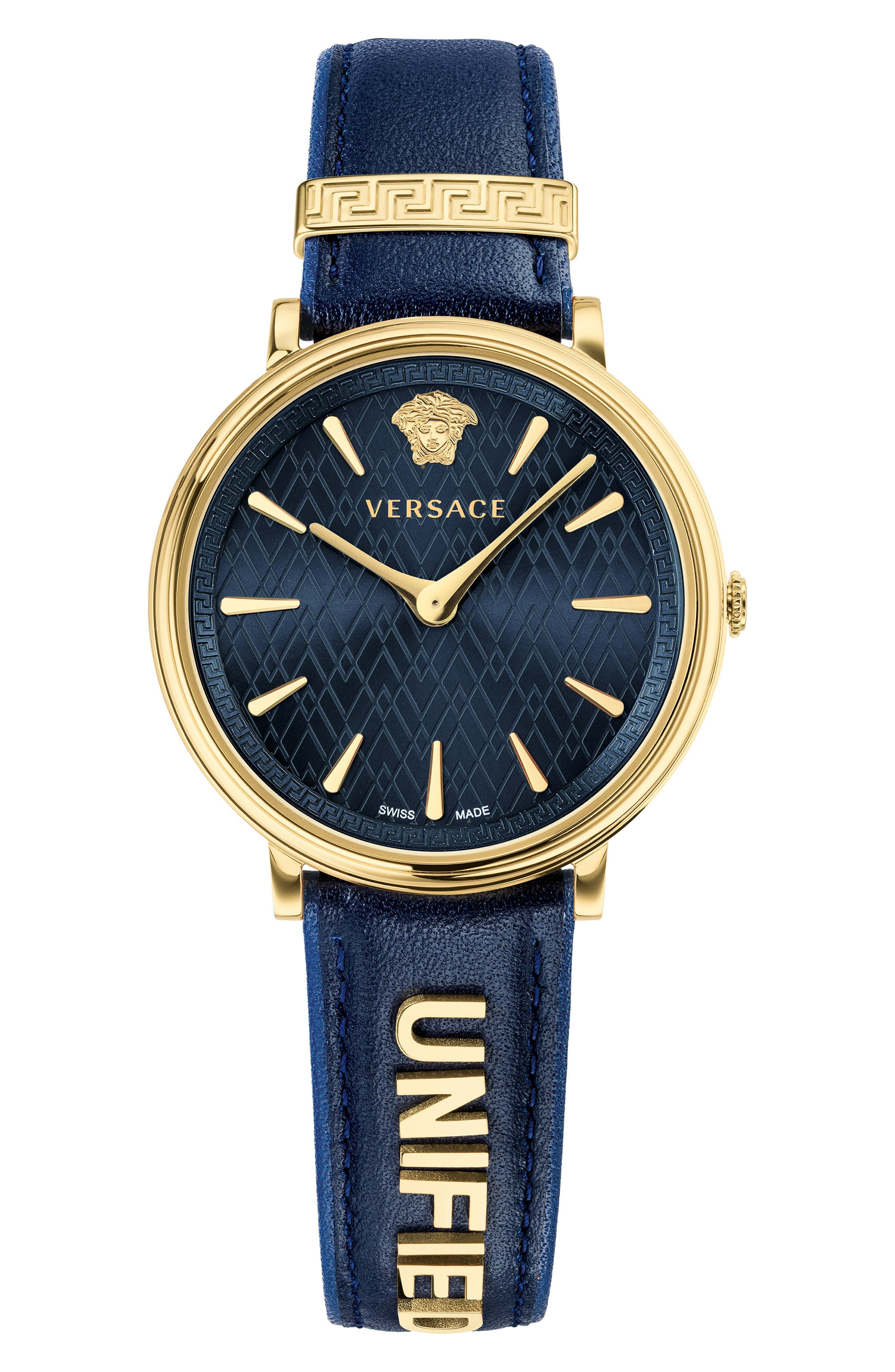 ,                             Manifesto Leather Strap Watch, 38mm,                             Main thumbnail 1, color,                             BLUE/ GOLD