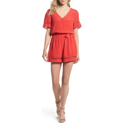 Fraiche By J Lace Inset Romper, Red