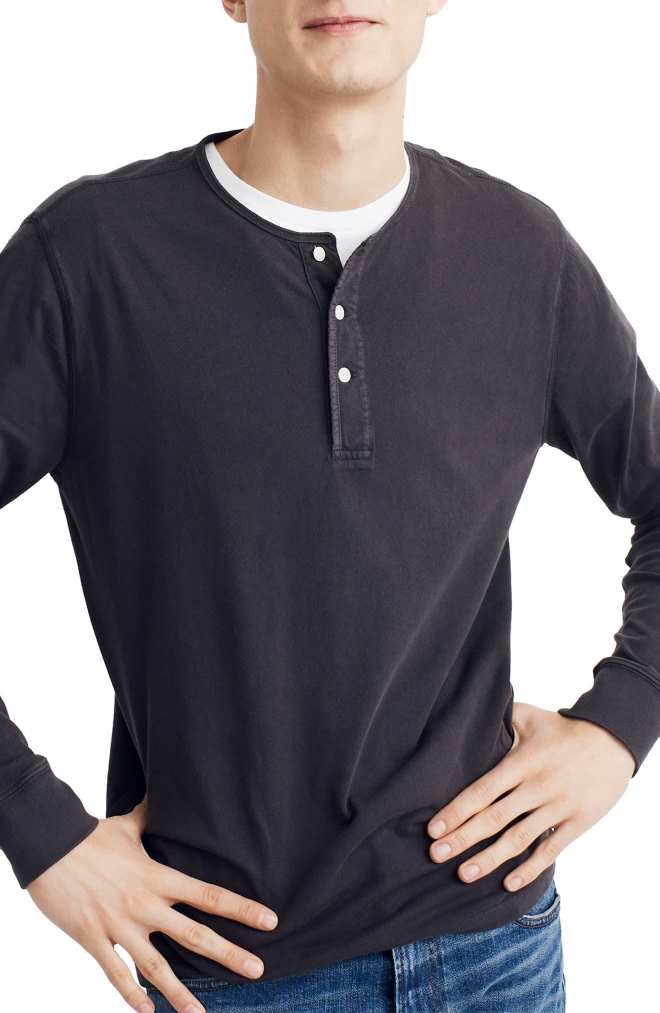 Slim Fit Henley, Main, color, BLACK COAL