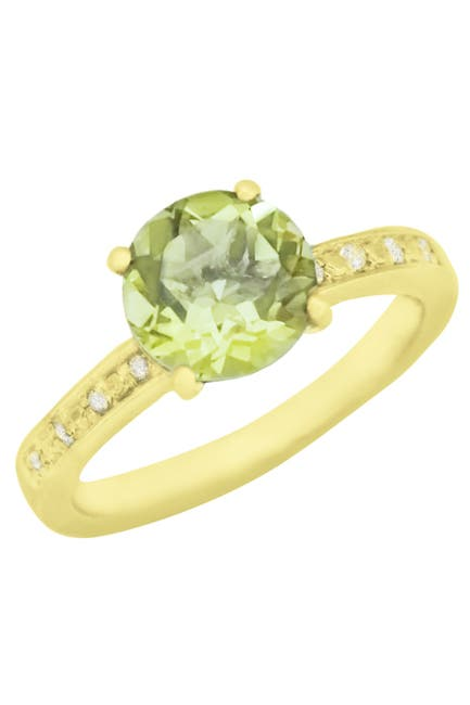 Image of Savvy Cie 18K Yellow Gold Vermeil Prong Set Round Green Quartz & Pave CZ Band Ring
