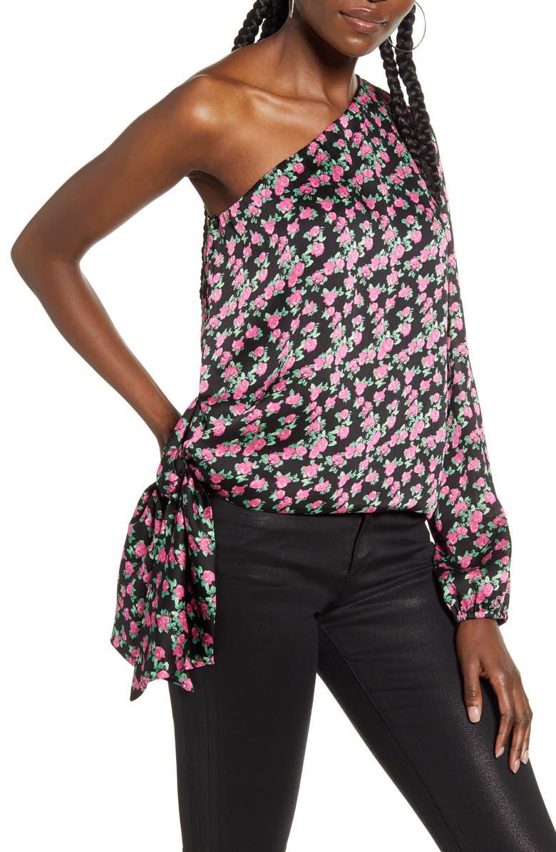 WAYF Wren Rose Print One-Shoulder Satin Blouse, Main, color, BLACK MINI ROSES