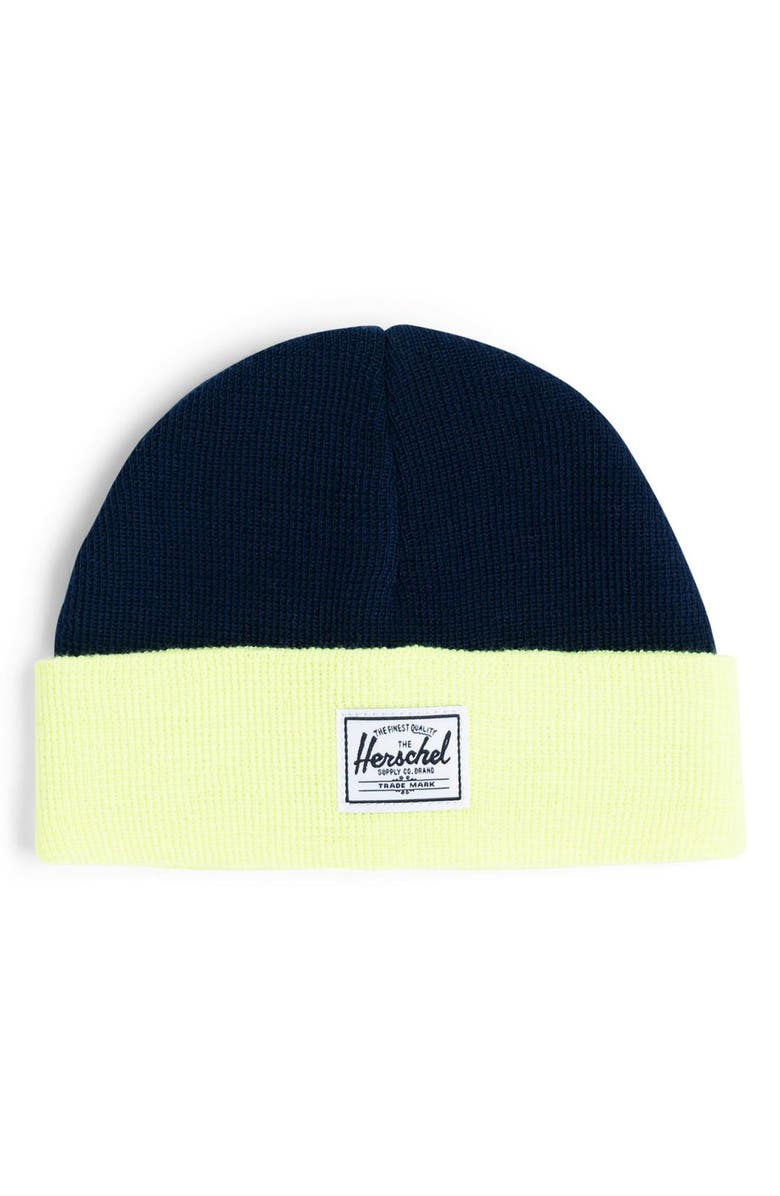 HERSCHEL SUPPLY CO. Colorblock Knit Beanie, Main, color, 439