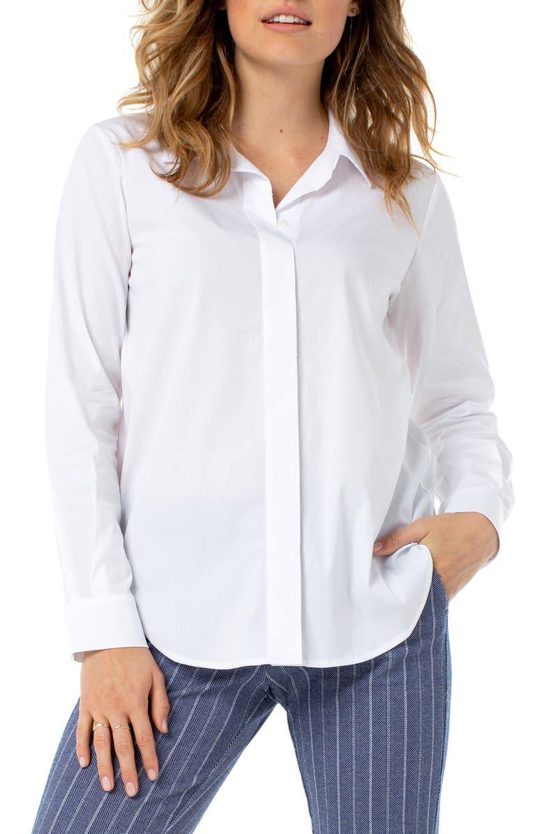 LIVERPOOL Stretch Cotton Blend Button-Up Shirt, Main, color, 100