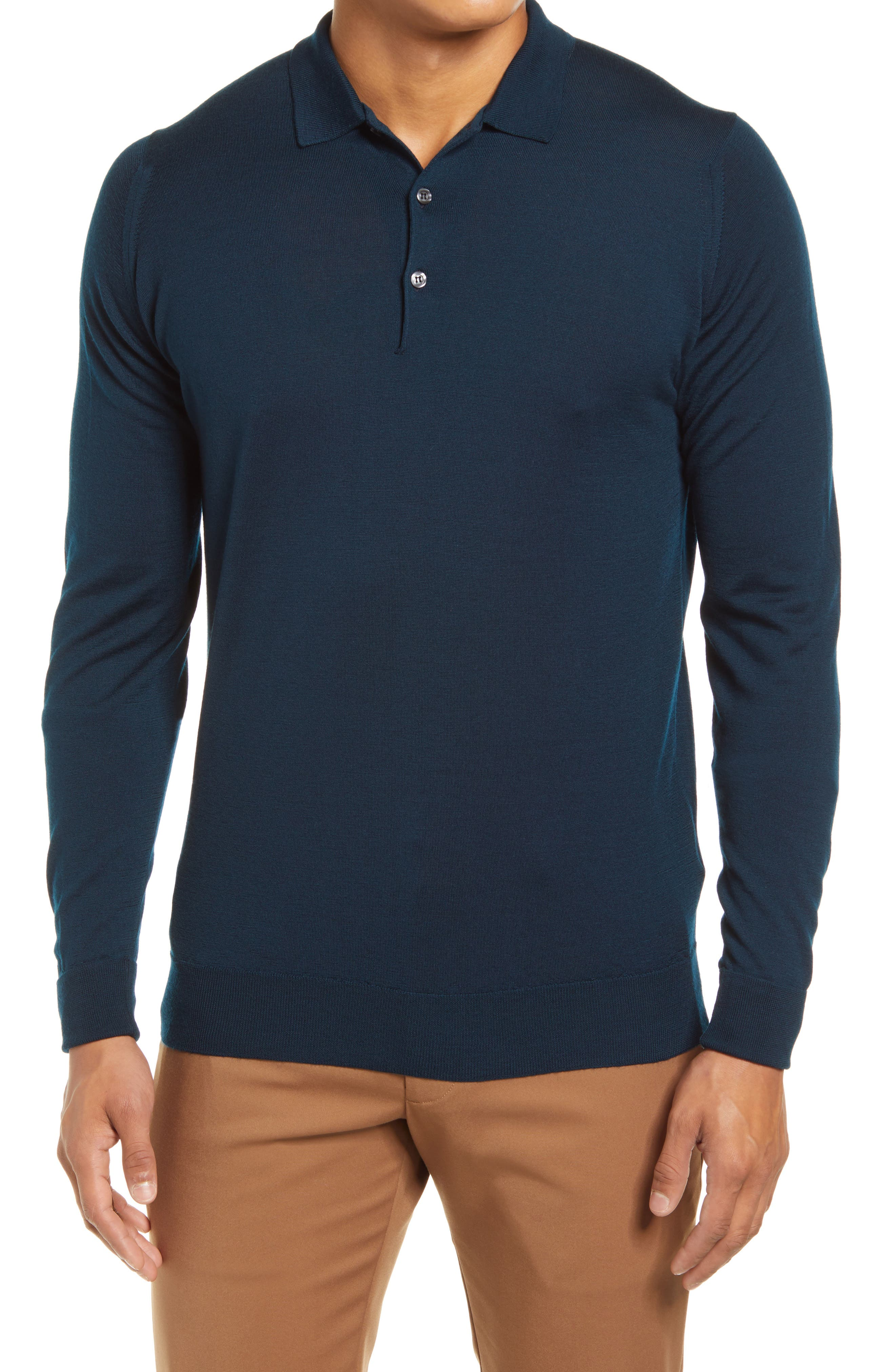 Slim Fit Long Sleeve Merino Polo