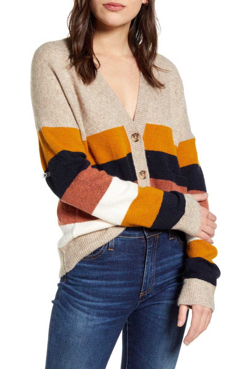 MADEWELL Kent Staunton Stripe Short Ex-Boyfriend Cardigan Sweater, Main, color, HEATHER UMBER