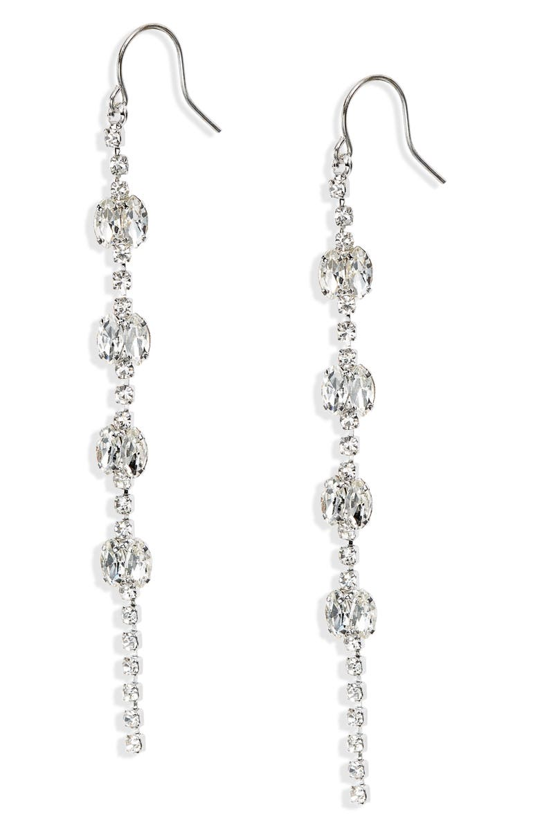 CRISTABELLE Crystal Linear Drop Earrings, Main, color, CRYSTAL/ RHODIUM