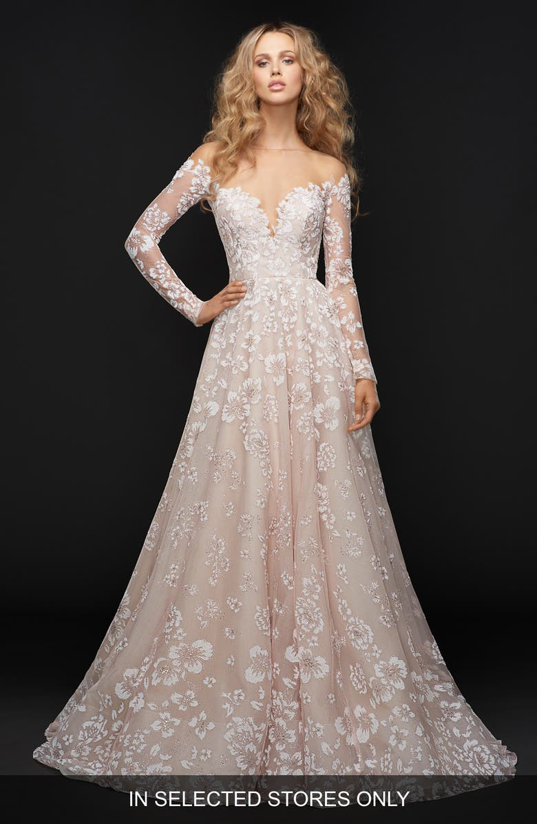 HAYLEY PAIGE Stevie Illusion Off the Shoulder Gown, Main, color, ORCHID