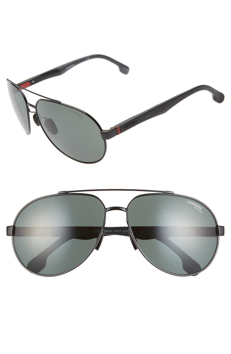 CARRERA EYEWEAR 63mm Polarized Aviator Sunglasses, Main, color, BLUE/ RUTHENIUM/ GRAY