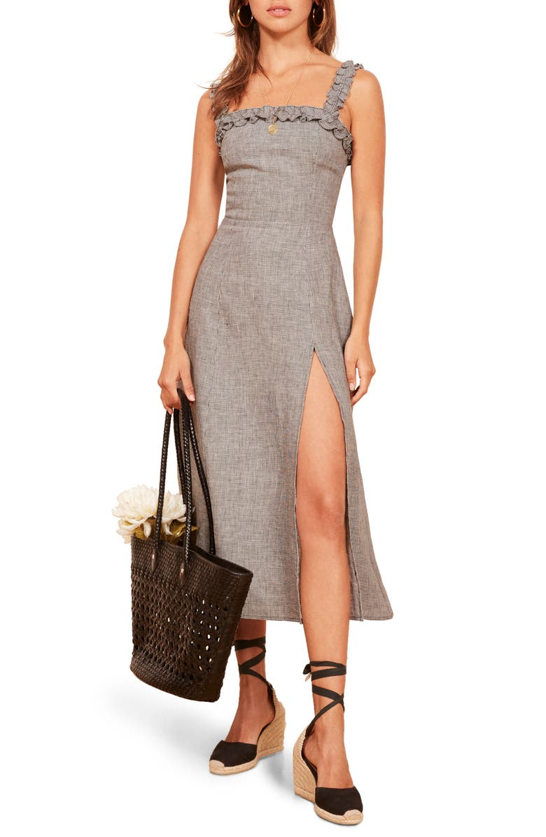 REFORMATION Lavender Front Slit Linen Midi Dress, Main, color, 001