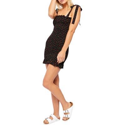 Free People Bella Smocked Minidress, Black