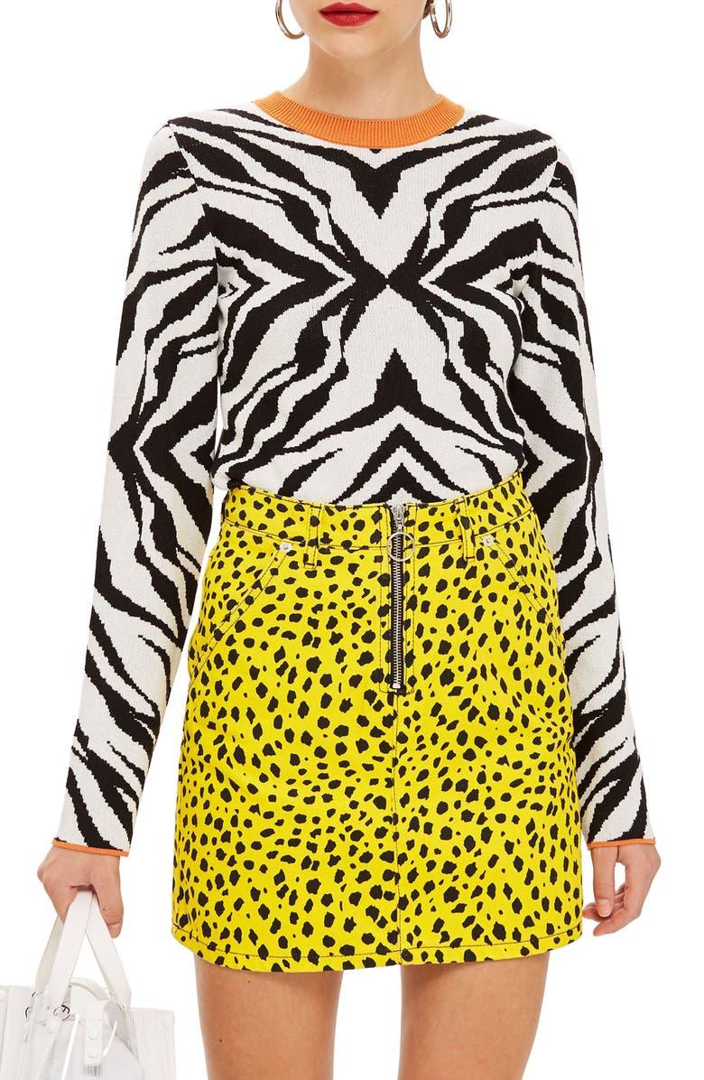 TOPSHOP Zebra Skinny Sweater, Main, color, 002