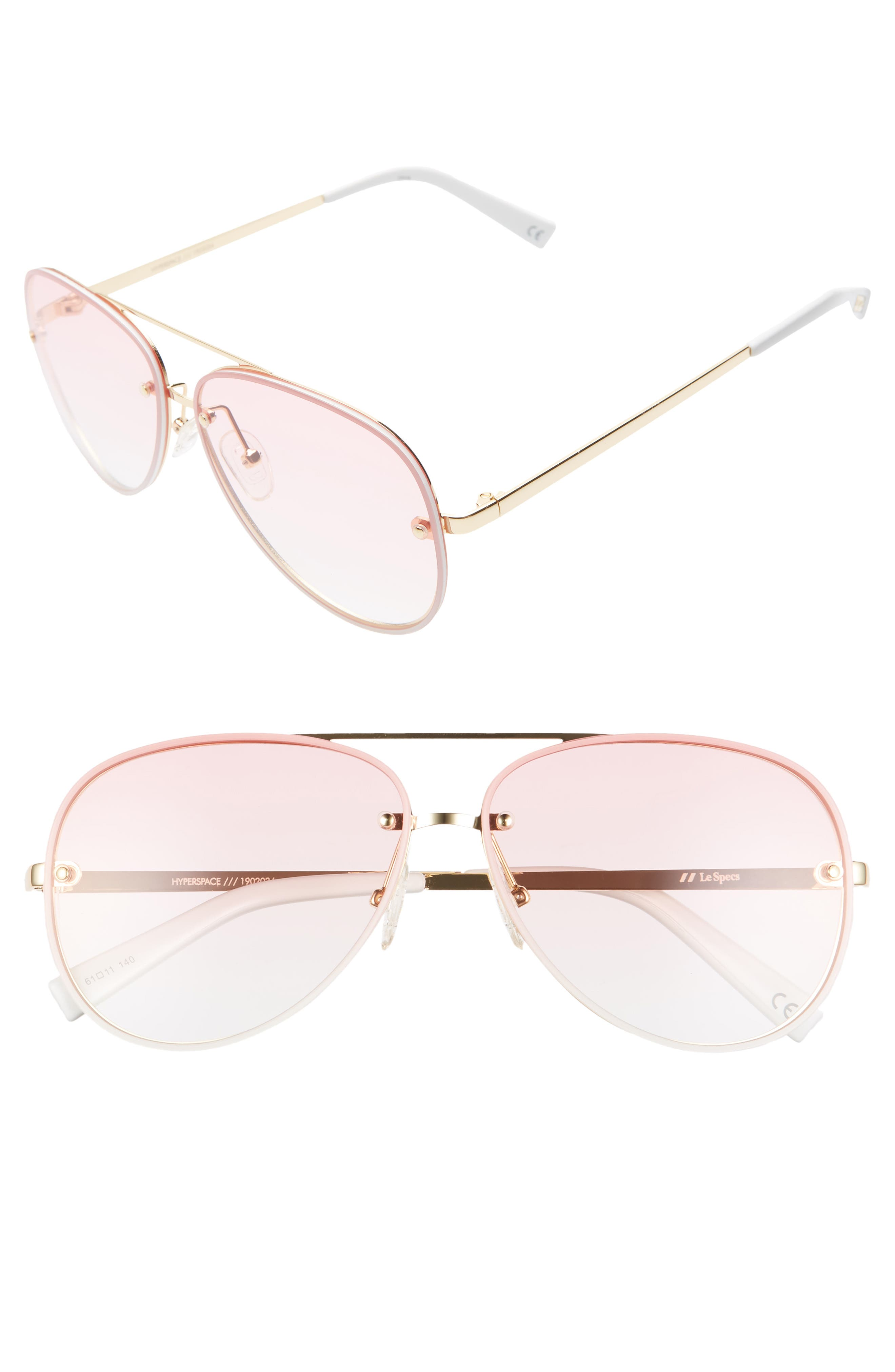 Le Specs Hyperspace 61Mm Aviator Sunglasses - Pink/ Gold/ Pink