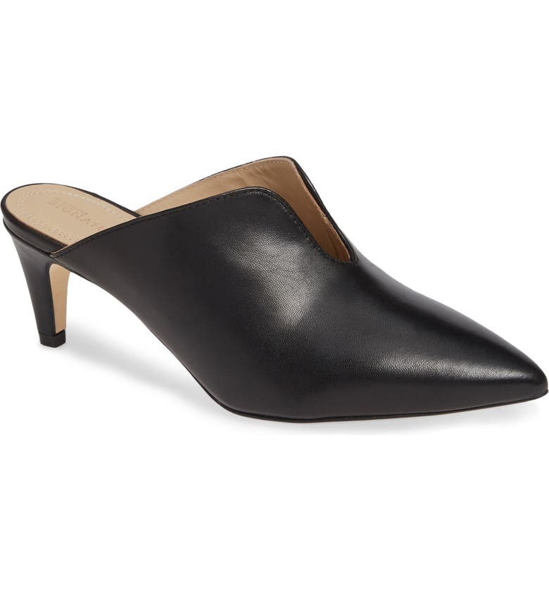 NORDSTROM SIGNATURE Allegra Notched Mule, Main, color, 001