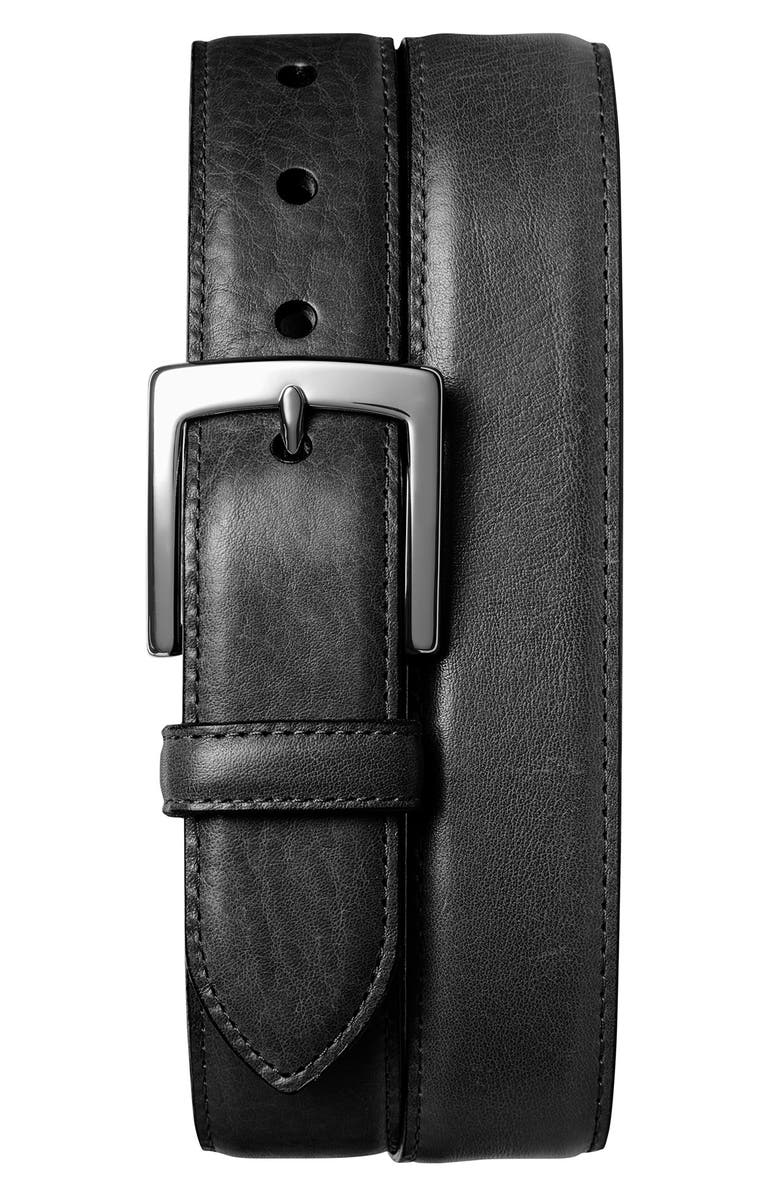 SHINOLA Bedrock Leather Belt, Main, color, BLACK