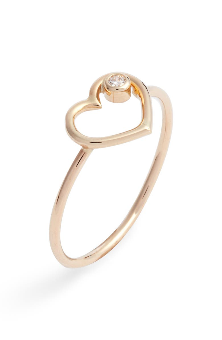 POPPY FINCH Heart of Diamond Ring, Main, color, YELLOW GOLD