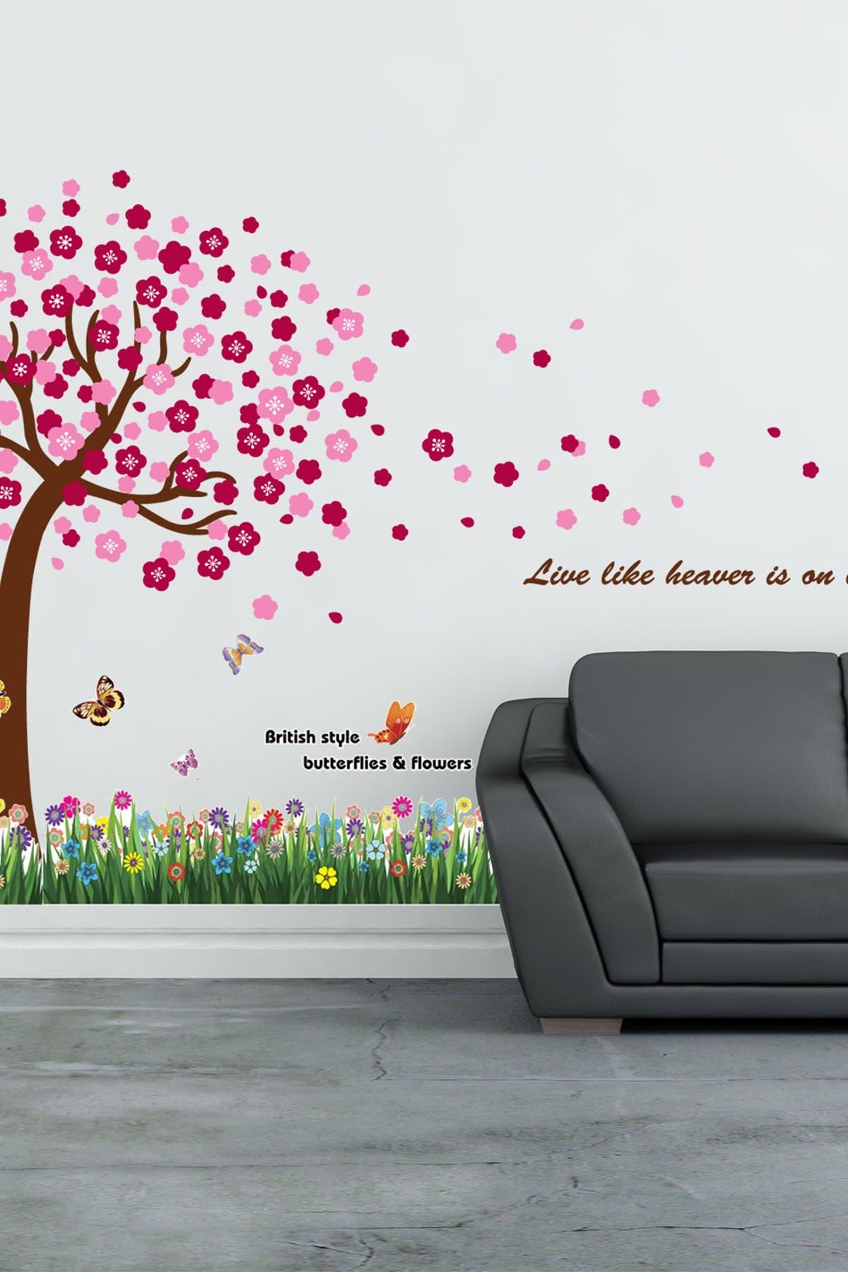Image of WalPlus Grass, Butterfly & Huge Pink Tree Wall Sticker Set