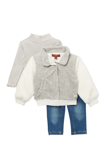 Image of 7 For All Mankind Faux Fur Jacket, Top, & Jeans - 3-Piece Set