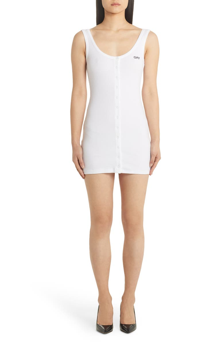 OFF-WHITE Logo Print Body-Con Minidress, Main, color, WHITE BLACK