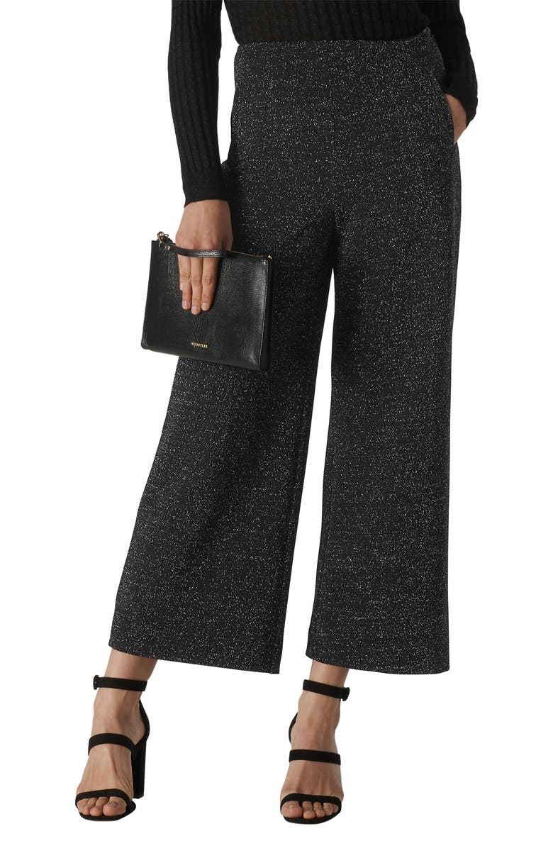 WHISTLES Metallic Wide Leg Ponte Trousers, Main, color, BLACK