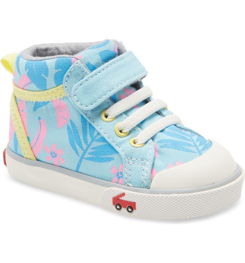 SEE KAI RUN Peyton Sequin Mid Top Sneaker, Main, color, LIGHT BLUE TROPICAL