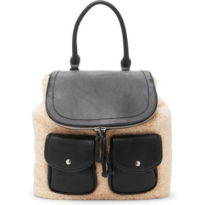 Sole Society Drury Faux Shearling & Faux Leather Backpack - Black