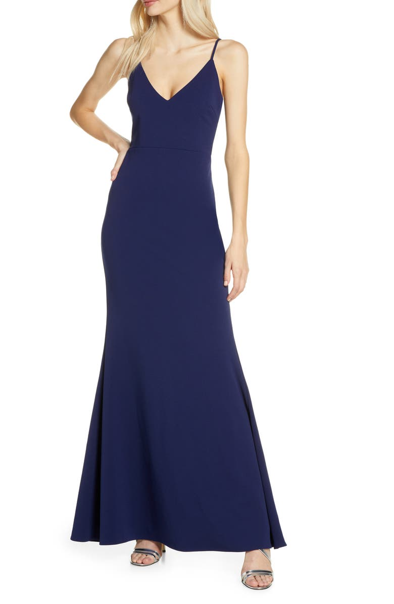 LULUS V-Neck Trumpet Gown, Main, color, NAVY